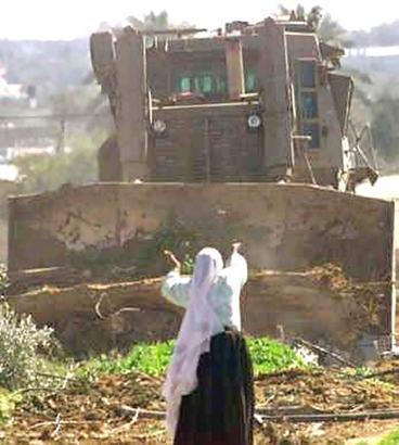 Bulldozer israeliano alla distruzione di campi